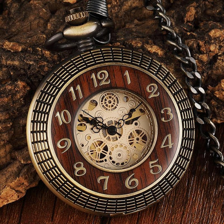 Vintage Wood Circle Carved Number Dial Mechanical Pocket Watch Men Hollow Steampunk Bronze Mechanical Clock Chain