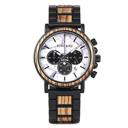 Watch Men Stylish Wood Watches Timepieces Chronograph Military Quartz Men's Gift