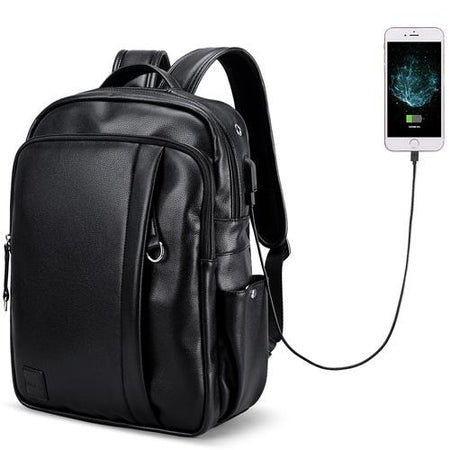 Waterproof 15.6 Inch Laptop Backpack Men Leather Backpacks For Casual Bag