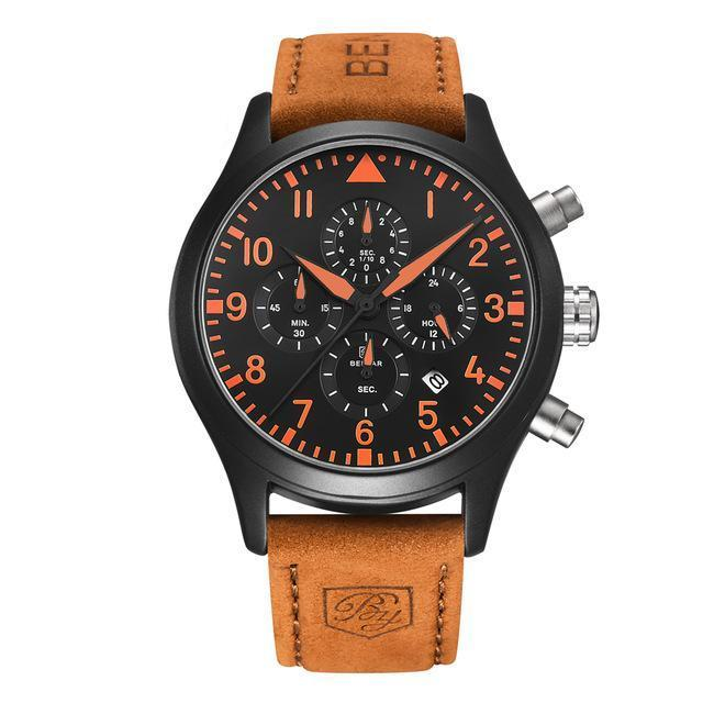 Waterproof Chronograph Sport Quartz Watch - Pilot Series, Date - GiftWorldStyle - Luxury Jewelry and Accessories