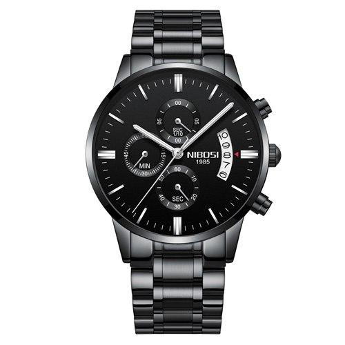 Waterproof Quartz Watch With Stainless Steel Strap - Luminous Hands