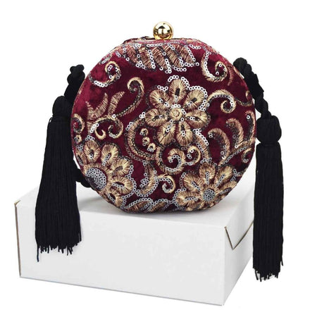 Velvet Shoulder Bag With Tassel, Ribbons And Stone - GiftWorldStyle - Luxury Jewelry and Accessories