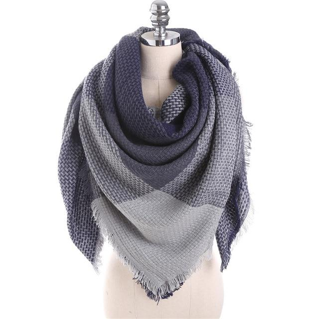Winter Scarf For Women In Square Shape With Thick Knitting Cashmere - GiftWorldStyle - Luxury Jewelry and Accessories