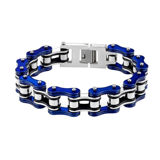 Women And Man Double Color Stainless Steel Bracelet Bicycle Chain Punk Rock Motorcycle  Jewelry