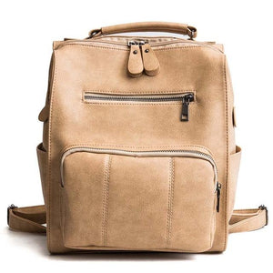 Vintage Large Solid Leather School Backpack - GiftWorldStyle - Luxury Jewelry and Accessories