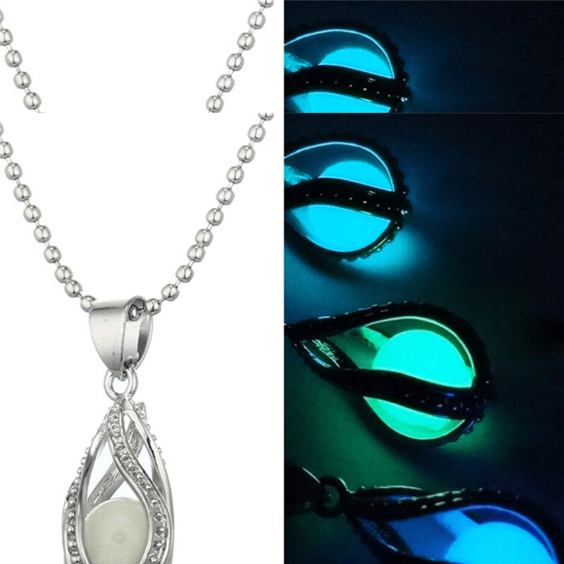 Women's Fluorite Glow In The Dark Mermaid's Teardrop Hollow Charm Luminous Stone Pendant Statement Necklace
