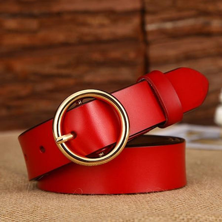 Women's Leather Belt Round Gold Buckle