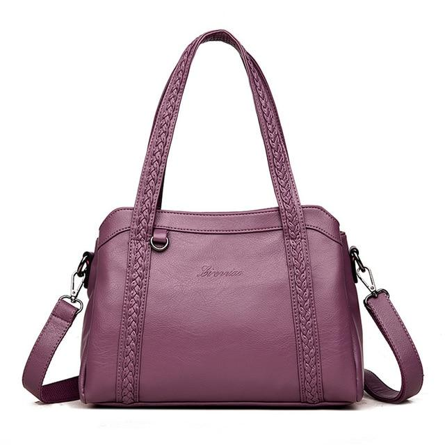Women's Leather Handbag With Phone, Slot , Zipper Pockets
