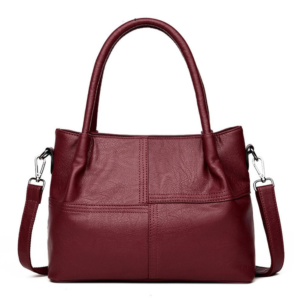 Women's Leather Tote Shoulder Handbag - Top Handle - GiftWorldStyle - Luxury Jewelry and Accessories