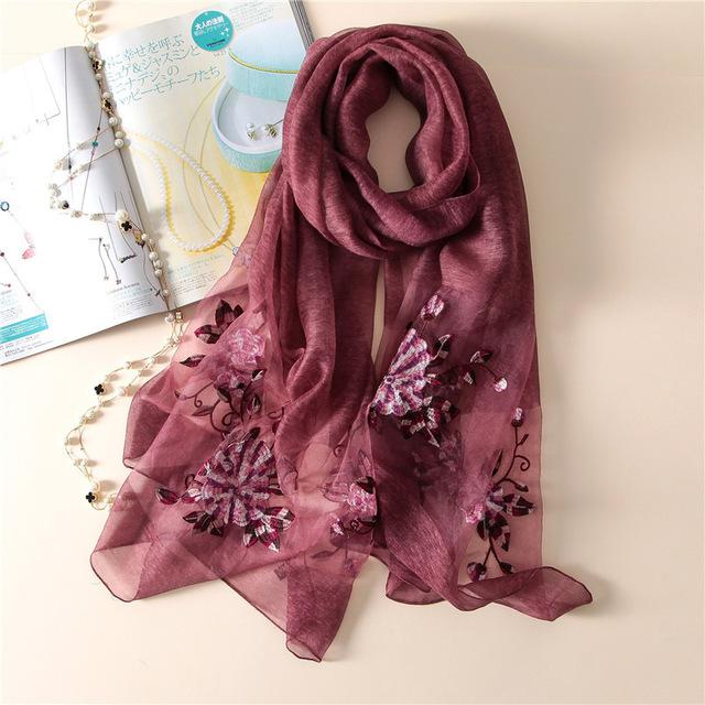 Women's Scarf Embroidery Wool Scarves Summer Silk Scarf Shawls Wraps Foulard