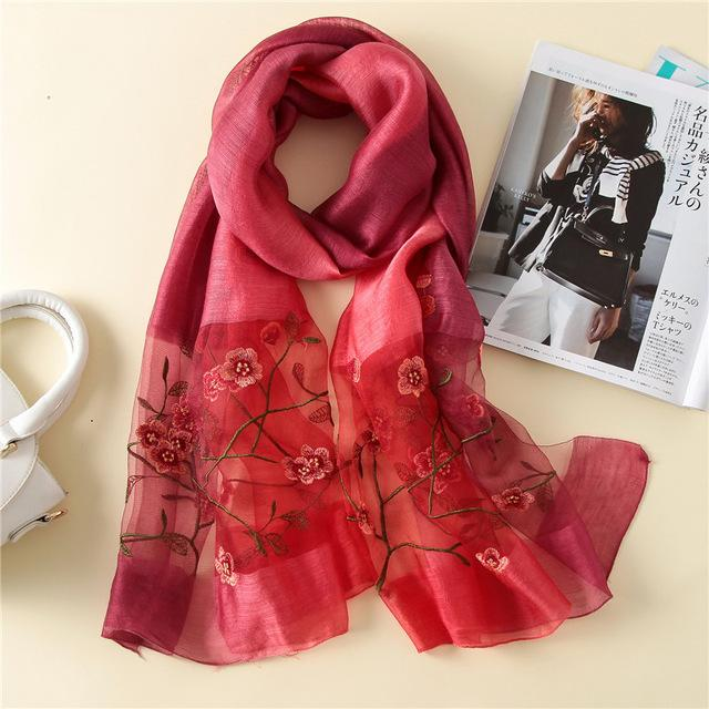 Women Scarf Large Size Silk Scarves Shawl And Wraps Embroidery Bandana Foulard