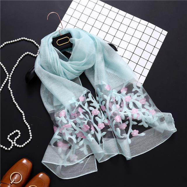 Spring Silk Scarf With Hollow Floral In One Color - GiftWorldStyle - Luxury Jewelry and Accessories