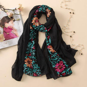 Women's Scarf With Vintage Floral Print And Cotton Polyester - GiftWorldStyle - Luxury Jewelry and Accessories