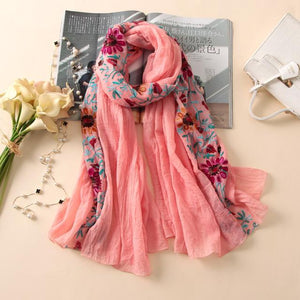 Women Scarf Vintage Summer Cotton Shawls And Wraps Lady Floral Female Winter Scarves