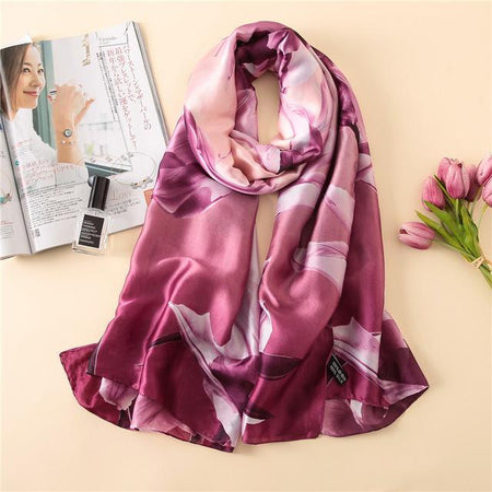 Women Silk Scarf With Beautiful Big Flower Print, Lightweight - GiftWorldStyle - Luxury Jewelry and Accessories