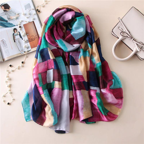 Soft Women Silk Scarf In Long Size Of Stripes - GiftWorldStyle - Luxury Jewelry and Accessories