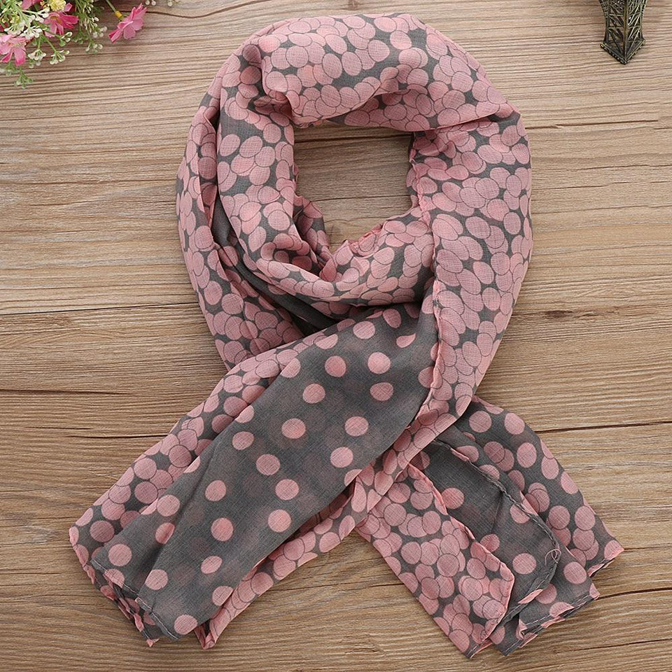 Women Soft Cotton Lady Long Neck Large Scarf Shawl Voile Stole Dot Warm Scarves