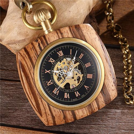 Wooden Mechanical Pocket Watch Men Women Square Elegant Carving Dial Hollow Skeleton Numerals Steampunk