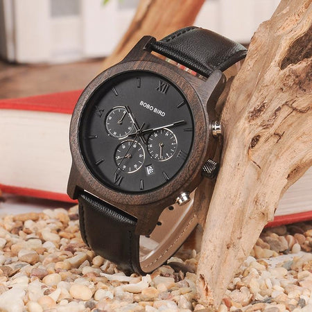 Wooden Men Watches Chronograph Quartz Watch Date Display In Wooden Gift Box