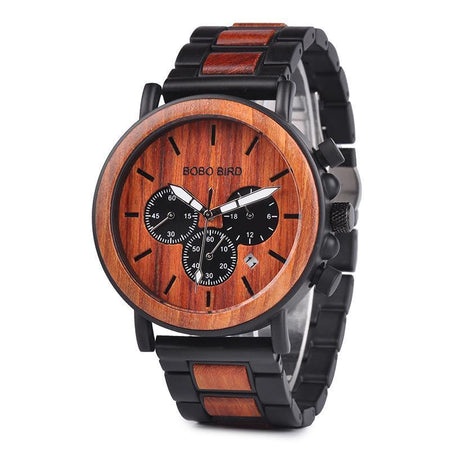 Wooden Men Watch With Calendar And Chronograph, Stop watch - GiftWorldStyle - Luxury Jewelry and Accessories