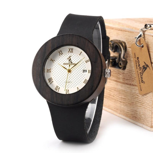 Wooden Watch Soft Leather Strap Metal Scale Face Analog Calendar Quality Movement Gift Box