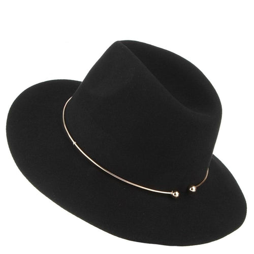 Fedoras Hat With Metal Ring And Wide Brim, Metal Ring - GiftWorldStyle - Luxury Jewelry and Accessories