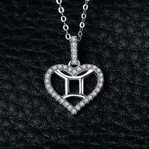 Zodiac Constellation Gemini Heart Love 0.2ct Cubic Zirconia Pendant Necklace 925 Sterling Silver Without A Chain