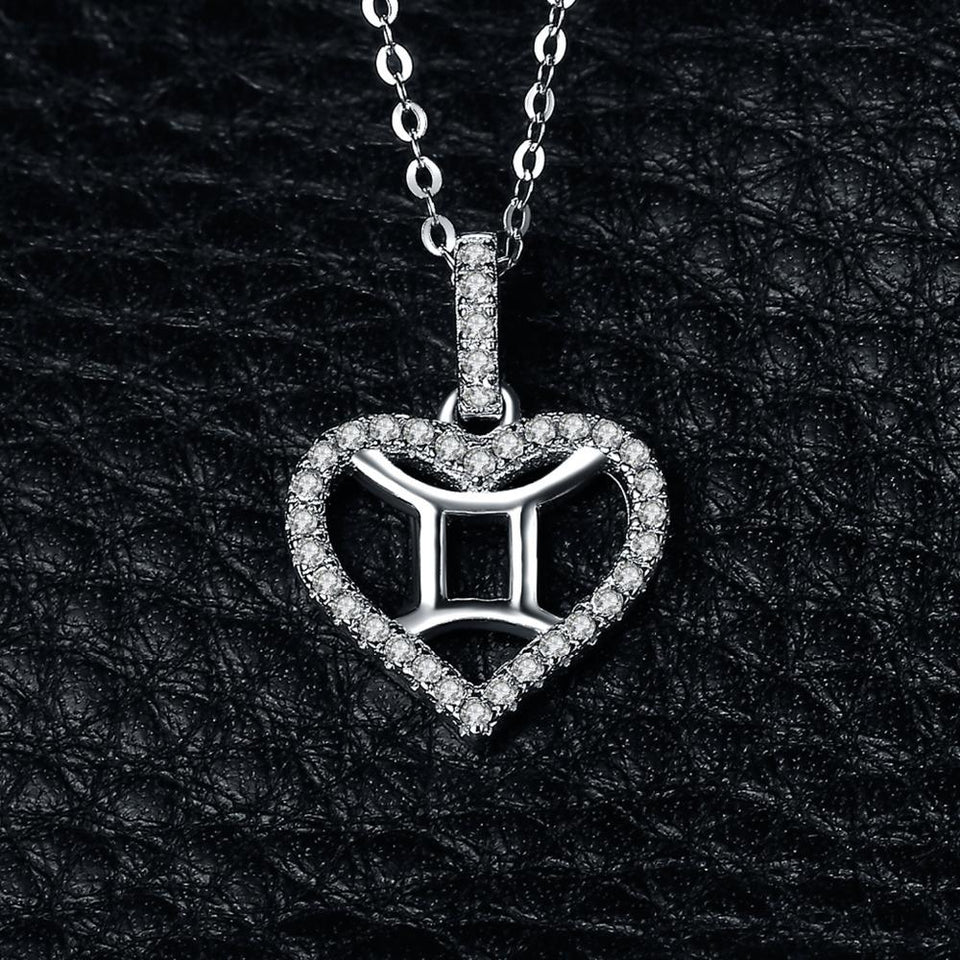Zodiac Constellation Gemini Heart Love 0.2ct Cubic Zirconia Pendant Necklace 925 Sterling Silver Without A Chain - GiftWorldStyle - Luxury Jewelry and Accessories