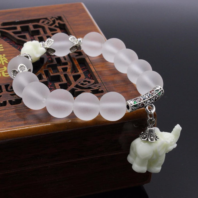 Natural Matte Crystal Elephant Bracelet