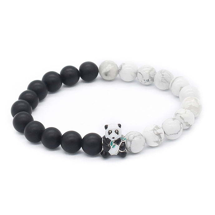 Lovely Panda Bracelet (8mm Natural Black & White Stone Beads)