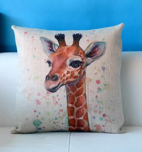 Unique Watercolor Giraffe Pattern Cushion