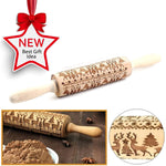 Christmas Wooden Rolling Pin with Christmas Symbols
