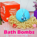 A bath bomb with necklace