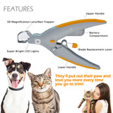 Pet Nail Clipper Trimmer with LED Light Illuminated(Battery Included)