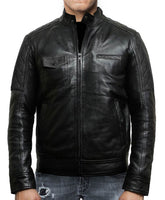New Mens Cafe Racer Black Diamond Classic Real Leather Jacket