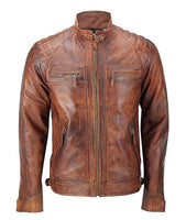Mens Distressed Brown Classic Diamond Leather Jacket