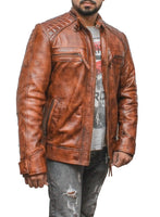 New Mens Motorcycle Brown Classic Diamond Leather Jacket