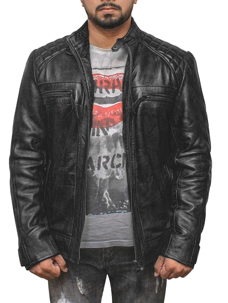 New Mens Motorcylce Black Classic Diamond Leather Jacket