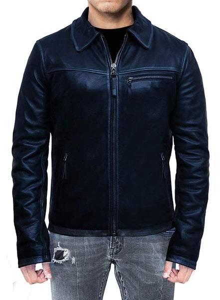 New Men's Cafe Racer Distressed Blue Leather Jacket
