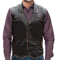 Men Brown Real Leather Distressed Vest