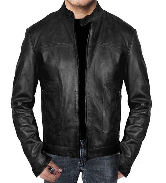 New Men's Cafe Racer Modern Style Black Leather Jacket