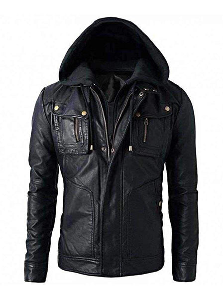 Motorcycle Brando Style Biker Real Leather Hoodie Jacket - Detach Hood