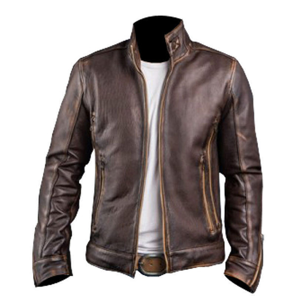 New Men's Cafe Racer Stylish Distressed-Brown Biker Vintage Leather Jacket