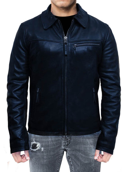 New Men's Cafe Racer Non Distressed Blue Leather Jacket