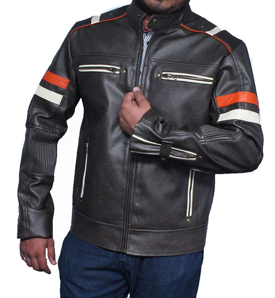Men Distressed Retro Vintage Cafe Racer Motorcycle Leather Jacket