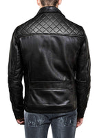 Mens Black Classic Strap Pockets Motorcycle Leather Jacket