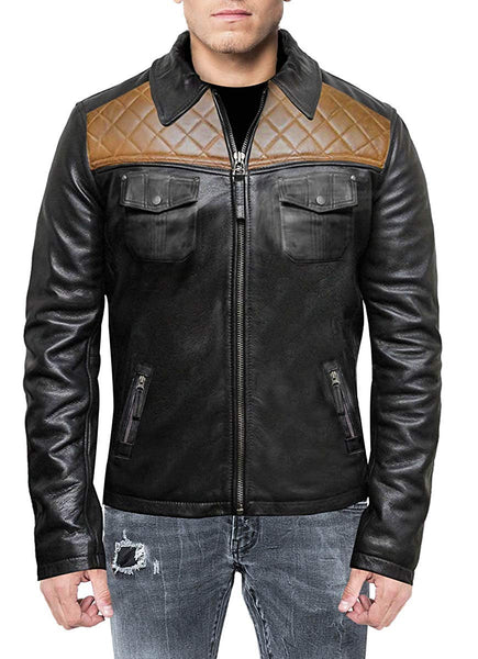 Mens Black & Tan Diamond Classic Motorcycle Leather Jacket