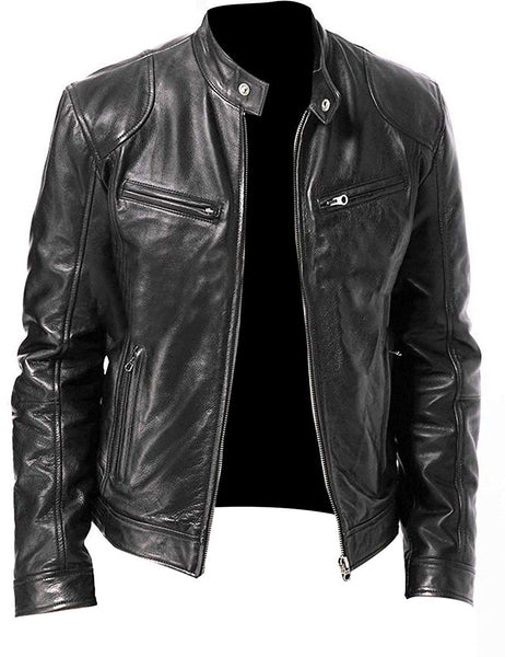 Vintage Cafe Racer Black Retro Biker Leather Jacket