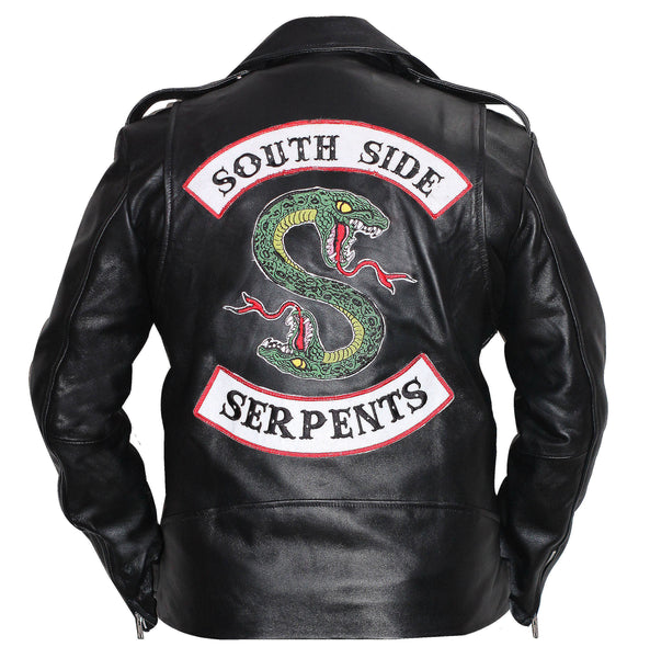 Mens Riverdale Southside Serpents Black Leather Biker Jacket - Faux Leather Jacket