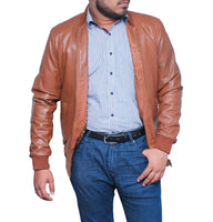 Men's Tan Smart Casual Vintage Bomber Real Leather Jacket